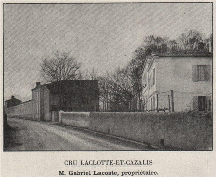 Associate Product GRANDS VINS BLANCS. BARSAC. Cru Laclotte-et-Cazalis. Lacoste. SMALL 1908 print