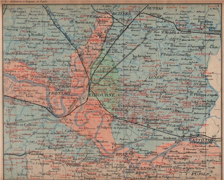 Associate Product BORDEAUX WINE MAP. St-Emilion Pomerol Canon-Fronsac chateaux. COCKS & FERET 1908