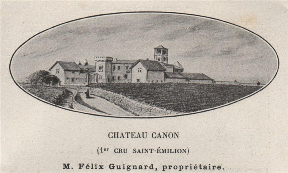 Associate Product SAINT-ÉMILIONNAIS. Chateau Canon (1er Cru Saint-Émilion). Bordeaux. SMALL 1908