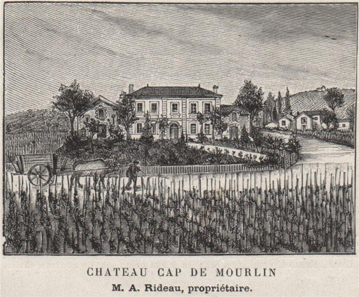 Associate Product Chateau Cap de Mourlin. Rideau. Bordeaux. SMALL 1908 old antique print picture