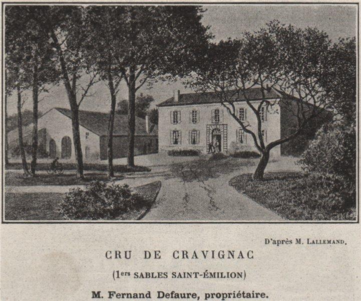 Associate Product SAINT-ÉMILIONNAIS. Cru de Cravignac (1er Cru Saint-Émilion). SMALL 1908 print