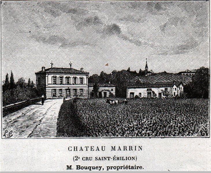 SAINT-CHRISTOPHE-DES-BARDES. Chateau Marrin (2e Cru Saint-Émilion). SMALL 1908