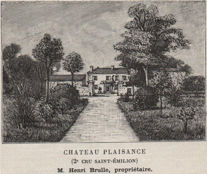 Associate Product Chateau Plaisance. Brulle. Bordeaux. SMALL 1908 old antique print picture