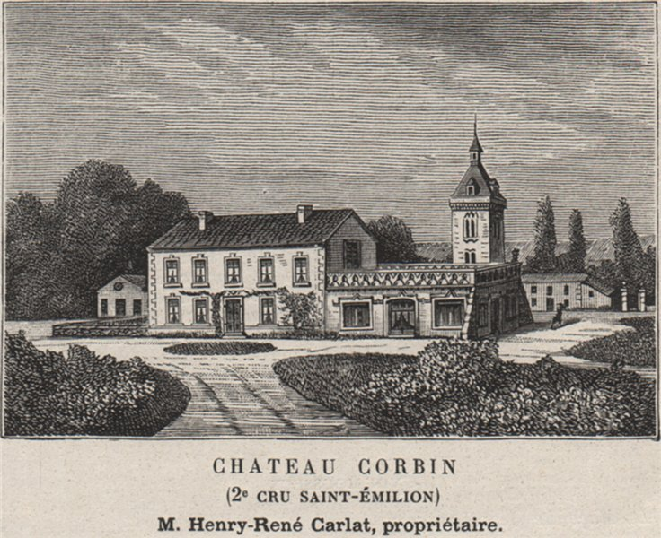 Associate Product Chateau Corbin (2e Cru Saint-Émilion). Carlat. Bordeaux. SMALL 1908 old print