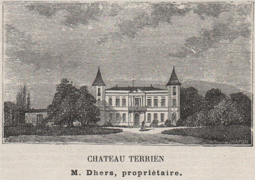Associate Product SAINT-ÉMILIONNAIS. LUSSAC. Chateau Terrien. Dhers. Bordeaux. SMALL 1908 print