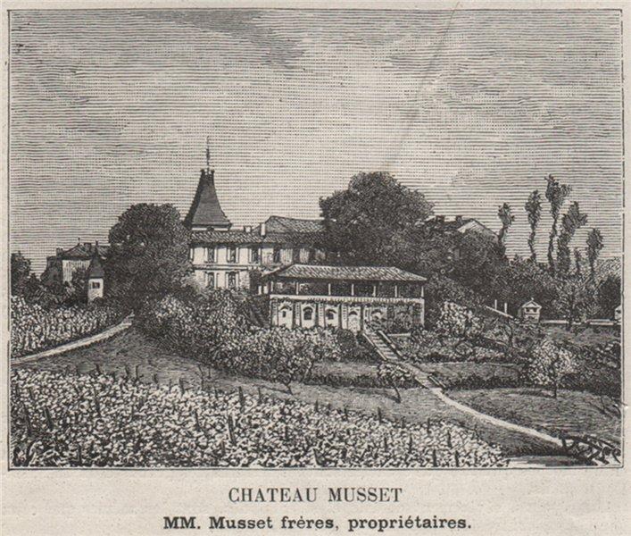 SAINT-ÉMILIONNAIS. PARSAC. Chateau Musset. Musset. Bordeaux. SMALL 1908 print
