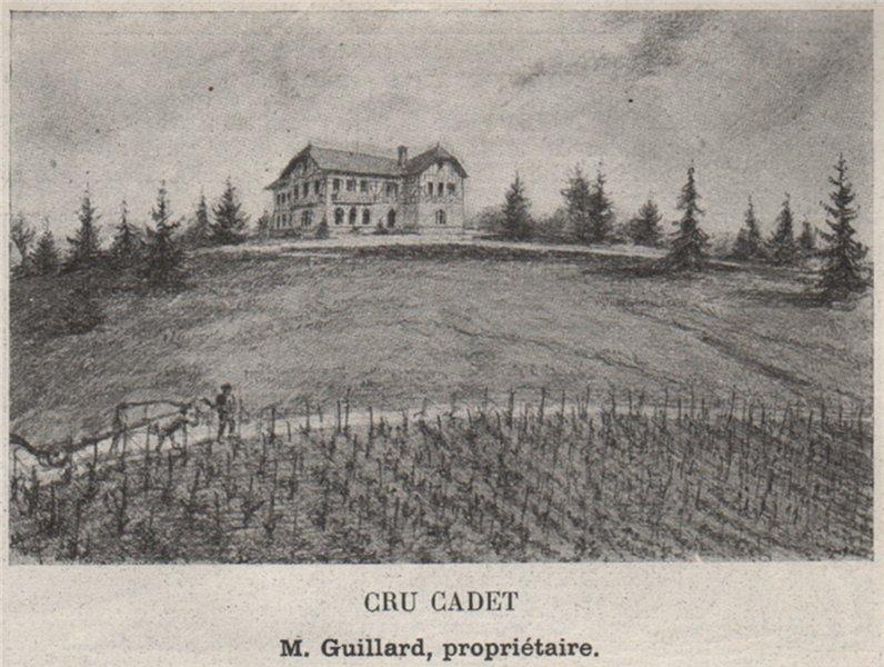 Associate Product Cru Cadet. Guillard. Bordeaux. SMALL 1908 old antique vintage print picture