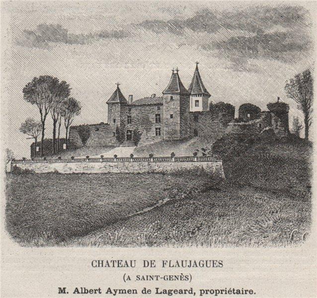 Associate Product Chateau de Flaujagues (A Saint-Genès). Lageard. Bordeaux. SMALL 1908 old print