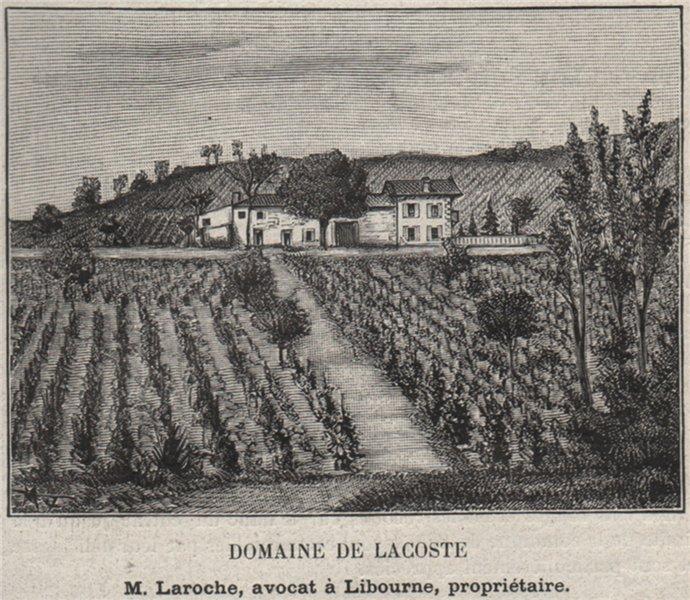 Associate Product SAINT-ÉMILIONNAIS. SAINT-MAGNE. Domaine de Lacoste. Laroche. SMALL 1908 print