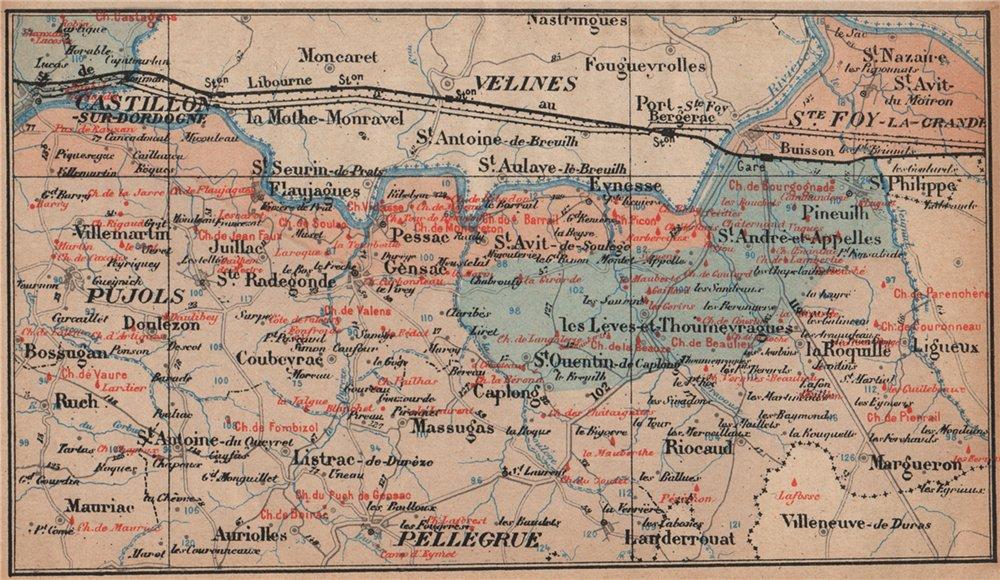 Associate Product BORDEAUX WINE MAP Entre-deux-mers. Castillon Pujols chateaux. COCKS & FERET 1908