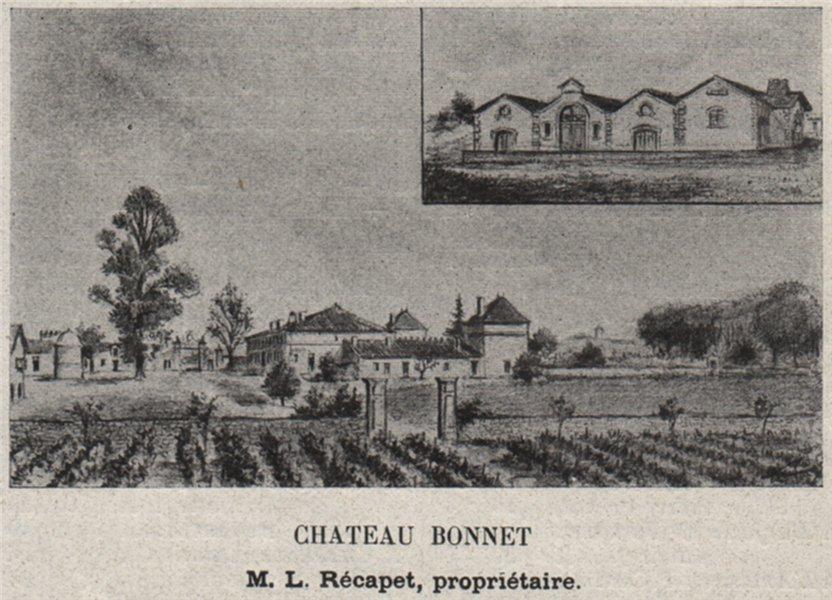 Associate Product CANTON DE BRANNE. GRÉZILLAC. Chateau Bonnet. Récapet. Bordeaux. SMALL 1908