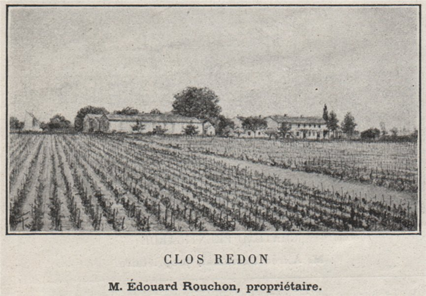 Associate Product CANTON DE BRANNE. GÉNISSAC, ARVEYRES. Clos Redon. Rouchon. Bordeaux. SMALL 1908