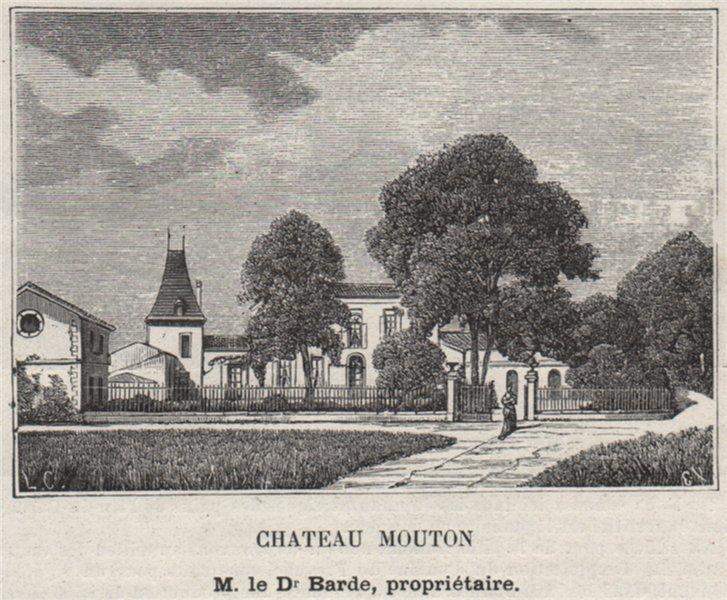Associate Product FRONSADAIS. LUGON ET L'ILE-DU-CARNEY. Chateau Mouton. Barde. SMALL 1908 print