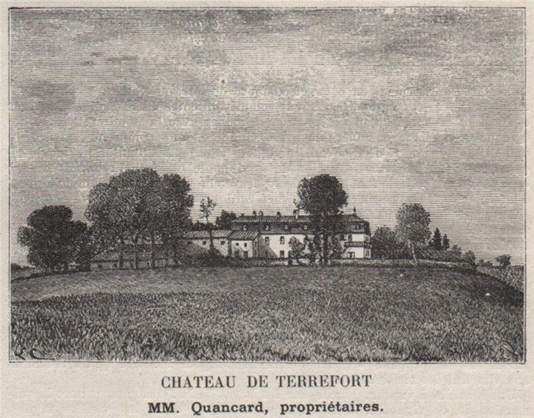 Associate Product CUBZADAIS. CUBZAC-LES-PONTS. Chateau de Terrefort. Quancards. SMALL 1908 print