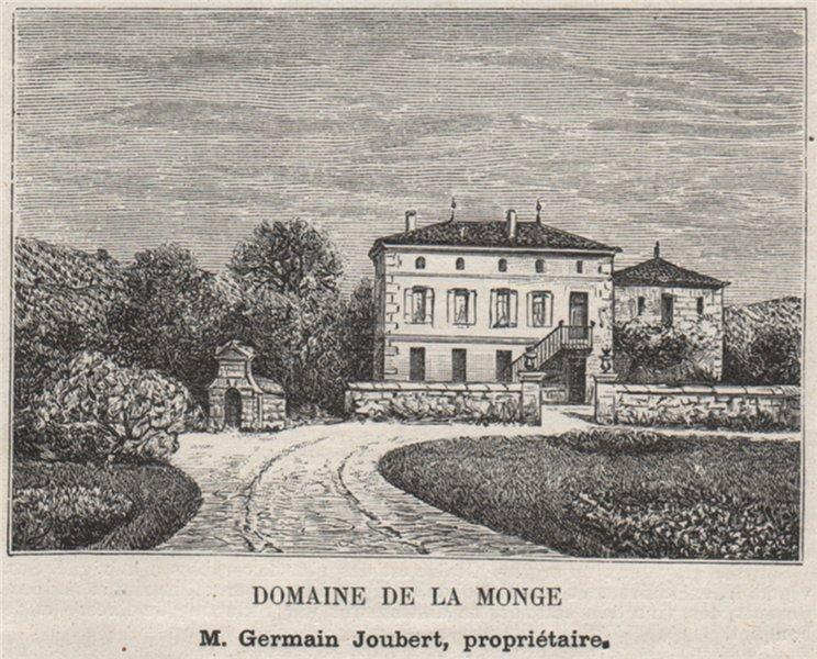 Associate Product BOURGEAIS. BOURG. Domaine de la Monge. Joubert. Bordeaux. SMALL 1908 old print