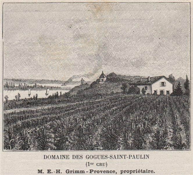 Associate Product Domaine des Gogues-Saint-Paulin (1er Cru). Grimm-Provence. Bordeaux. SMALL 1908