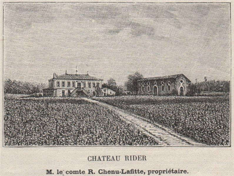 Associate Product BOURGEAIS. BOURG. Chateau Rider. Chenu-Lafitte. Bordeaux. SMALL 1908 old print