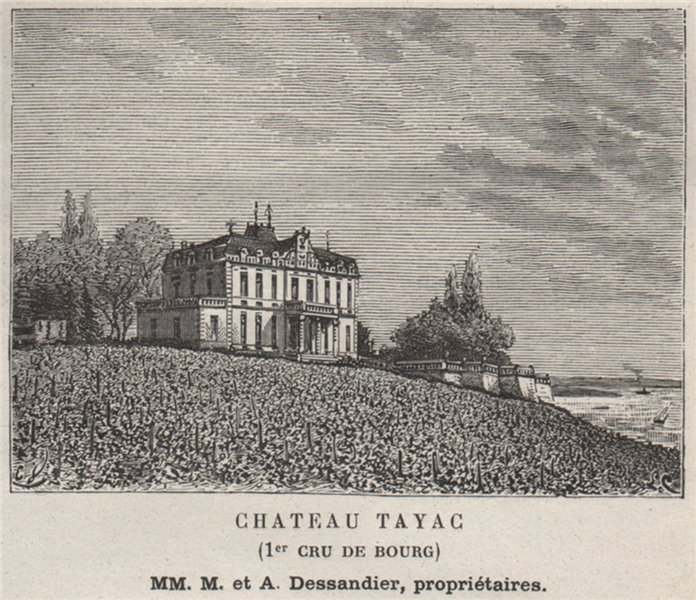 Associate Product BOURGEAIS. BAYON. Chateau Tayag (1er Cru de Bourg). Dassandiers. SMALL 1908