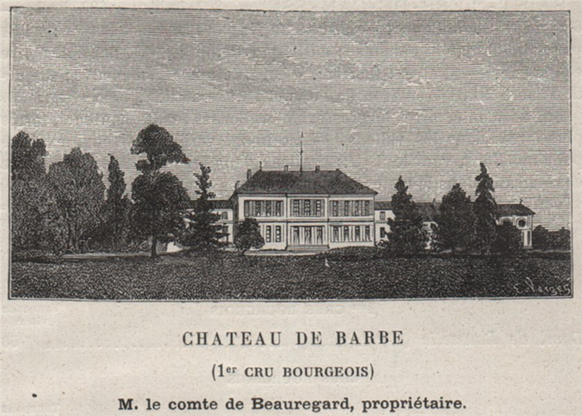 Associate Product BOURGEAIS. VILLENEUVE. Chateau de Barbe (1er Cru Bourgeois). SMALL 1908 print