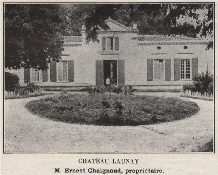 Associate Product BOURGEAIS. TEUILLAC. Chateau Launay. Chaignaud. Bordeaux. SMALL 1908 old print