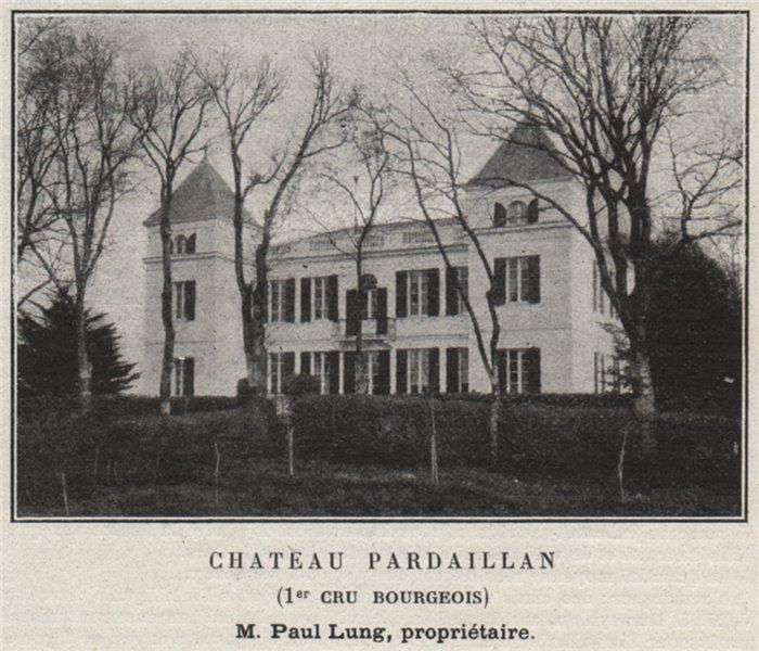 Associate Product BLAYAIS. CARS. Chateau Pardaillan (1er Cru Bourgeois). Lung. SMALL 1908 print