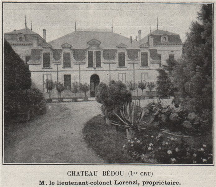 Associate Product Chateau Bédou (1er Cru). Lorenzi. Bordeaux. SMALL 1908 old antique print