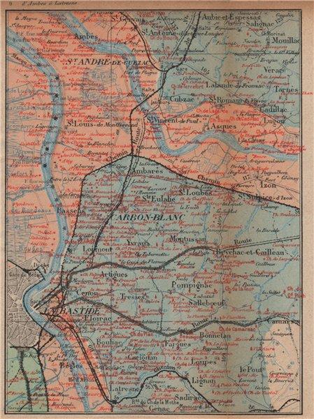Associate Product BORDEAUX WINE MAP. Entre-deux-mers Haut-Médoc chateaux. COCKS & FERET 1908
