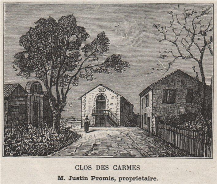 Associate Product ENTRE-DEUX-MERS. MONTFERRAND. Clos des Carmes. Promis. Bordeaux. SMALL 1908