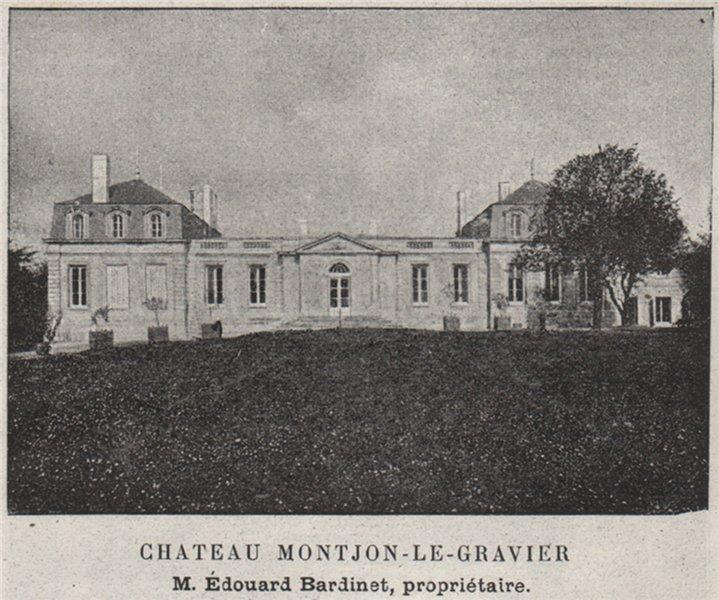 Associate Product ENTRE-DEUX-MERS. SAINTE-EULALIE. Chateau Montjon-le-Gravier. SMALL 1908 print