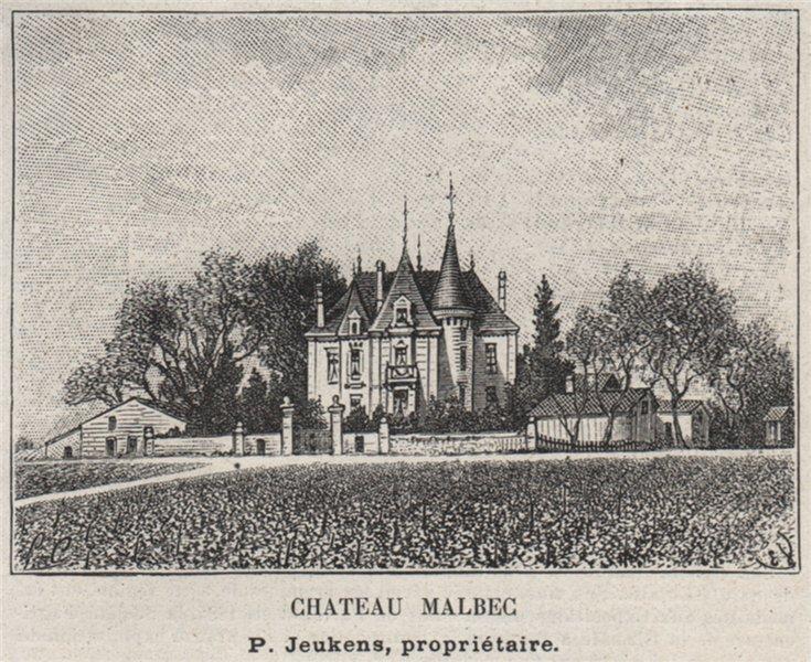 Associate Product ENTRE-DEUX-MERS. SAINTE-EULALIE. Chateau Malbec. Jeukens. Bordeaux. SMALL 1908