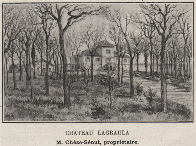 Associate Product ENTRE-DEUX-MERS. SAINT-SULPICE-ET-CAMEYRAC. Chateau Lagraula. SMALL 1908 print