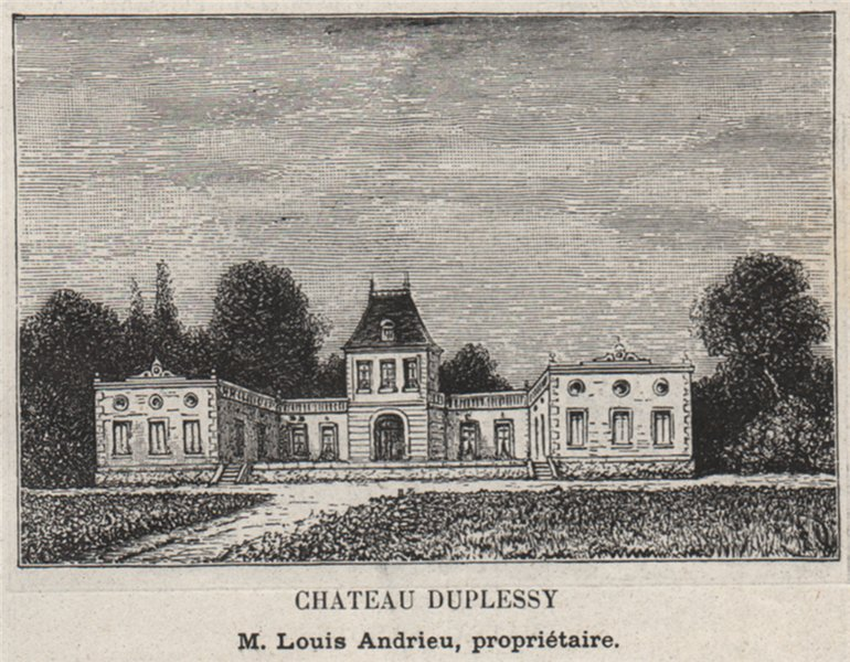 Associate Product ENTRE-DEUX-MERS. CÉNAC. Chateau Duplessy. Andrieu. Bordeaux. SMALL 1908 print