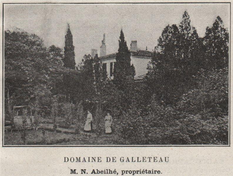 ENTRE-DEUX-MERS. QUINSAC. Domaine de Galleteau. Abeilhé. Bordeaux. SMALL 1908
