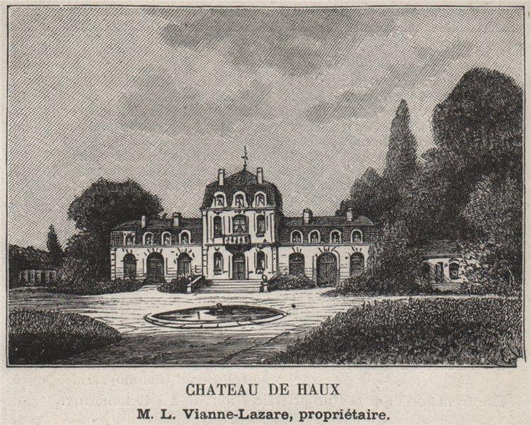 Associate Product Chateau de Haux. Vianne-Lazare. Bordeaux. SMALL 1908 old antique print picture