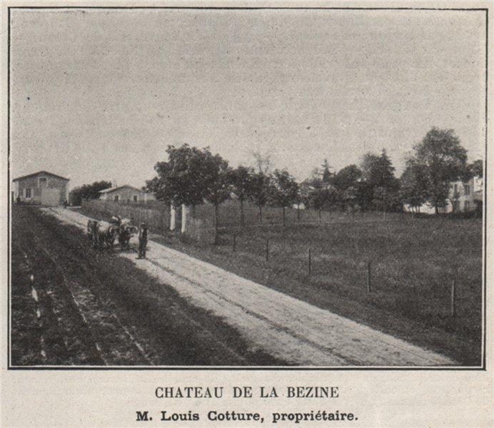 Associate Product Chateau de la Bezine. Cotture. Bordeaux. SMALL 1908 old antique print picture