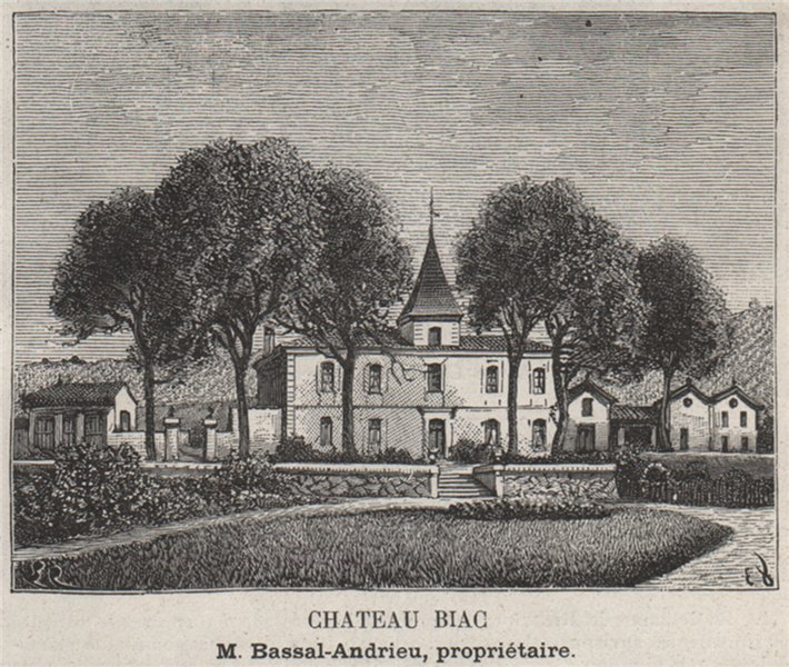 Associate Product ENTRE-DEUX-MERS. LANGOIRAN. Chateau Biag. Bassal-Andrieu. Bordeaux. SMALL 1908