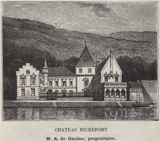 Associate Product ENTRE-DEUX-MERS. LANGOIRAN. Chateau Richefort. Gaulne. Bordeaux. SMALL 1908