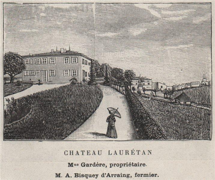 Associate Product ENTRE-DEUX-MERS. LANGOIRAN. Chateau Laurétan. D'Arraing. Bordeaux. SMALL 1908