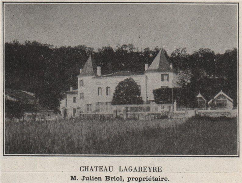 Associate Product ENTRE-DEUX-MERS. LESTIAC. Chateau Lagareyre. Beriol. Bordeaux. SMALL 1908