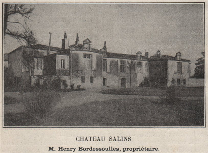 Associate Product ENTRE-DEUX-MERS. RIONS. Chateau Salins. Bordessoulles. Bordeaux. SMALL 1908