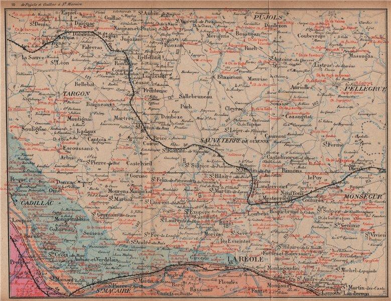 Associate Product BORDEAUX WINE MAP Carte vinicole. Entre-deux-mers chateaux. COCKS & FERET 1908