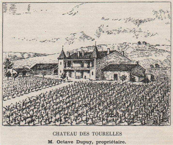 Associate Product ENTRE-DEUX-MERS. CADILLAC. Chateau des Tourelles. Dupuy. Bordeaux. SMALL 1908