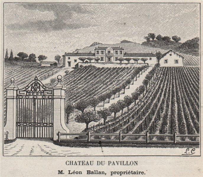 Chateau du Pavillon. Ballan. Bordeaux. SMALL 1908 old antique print picture