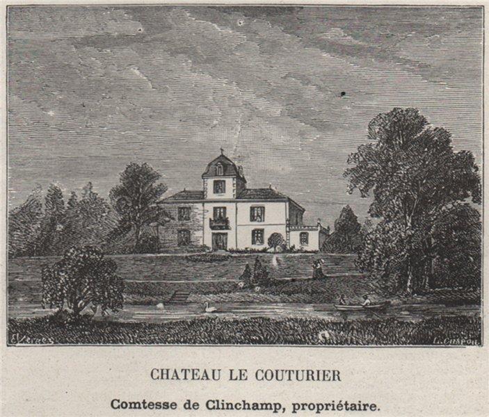Associate Product ENTRE-DEUX-MERS. BAIGNEAUX, BELLEBAT. Chateau le Couturier. SMALL 1908 print