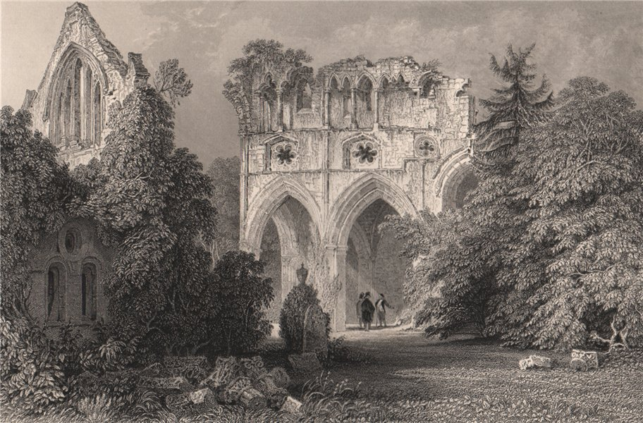 Associate Product Dryburgh Abbey. Roxburghshire. Scotland. ALLOM 1838 old antique print picture