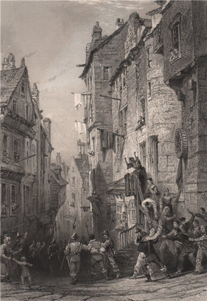 Associate Product West Bow, Edinburgh.-Condemned Covenanters. Scotland. ALLOM 1838 old print