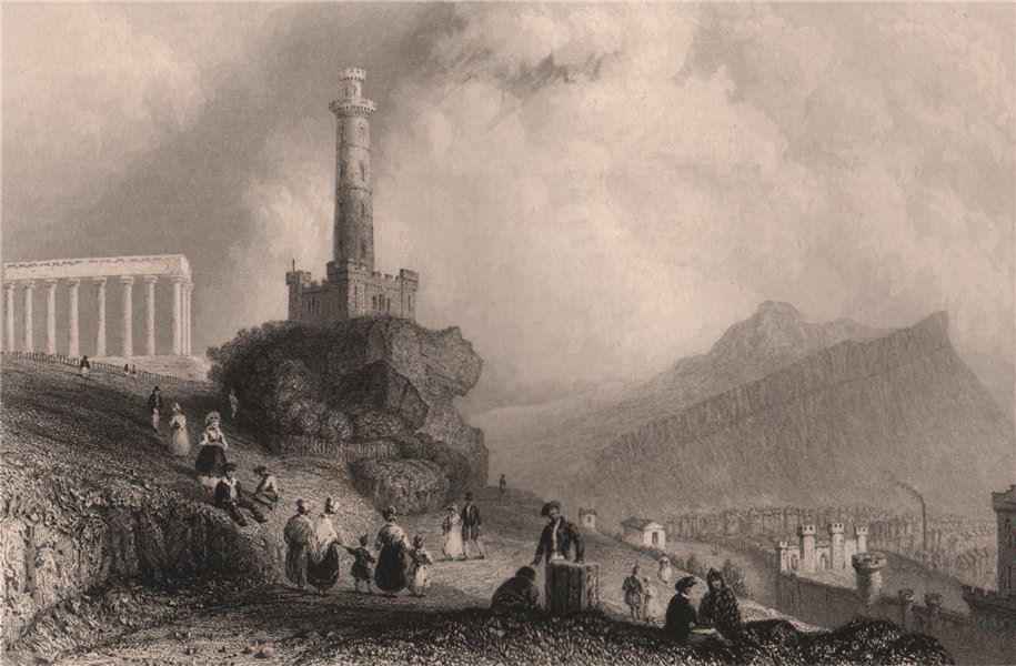 The Calton Hill. With the Nelson Monument. Scotland. BARTLETT 1838 old print