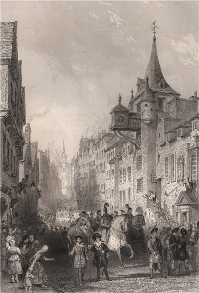 Associate Product The Canongate, Edinburgh, during the procession King George IV, 1822. ALLOM 1838