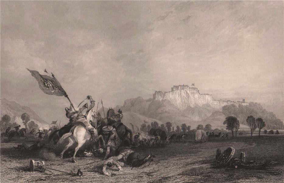 Associate Product Town & castle of Stirling.  Battle of Sauchieburn 1488. Scotland. ALLOM 1838