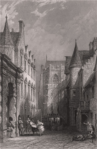 Associate Product Castle wind, Mar's Wark and Cathedral. Stirling. Scotland. ALLOM 1838 print
